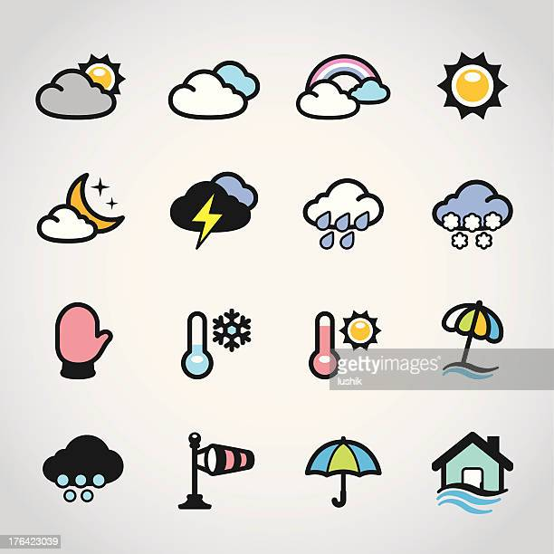 weather forecast / fabrico icons - water cycle stock illustrations, clip art, cartoons, & icons