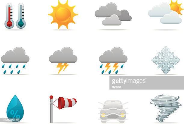 weather forecast icons | premium matte series - monsoon stock illustrations, clip art, cartoons, & icons