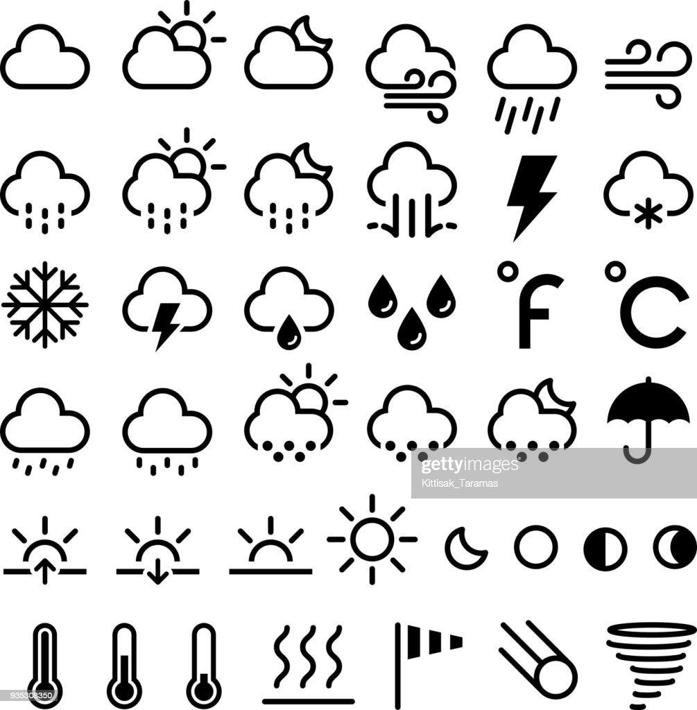 Weather forecast icons. Vector illustrations.
