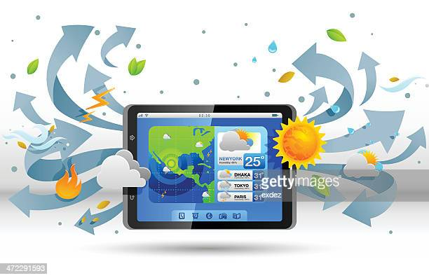 weather forecast in smart phone - fahrenheit stock illustrations