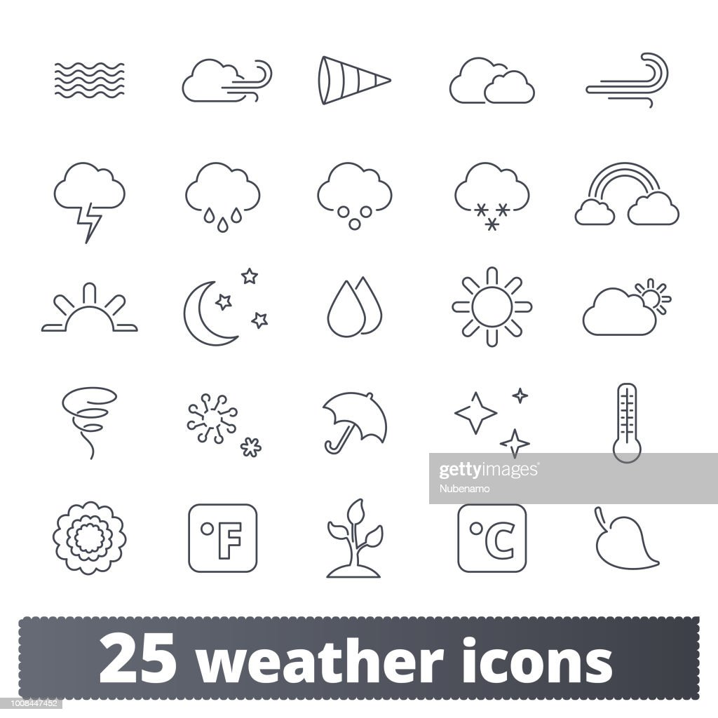 Weather Forecast Thin Line Icons Collection