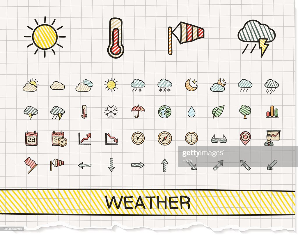 Weather hand drawing line icons. Vector doodle pictogram set