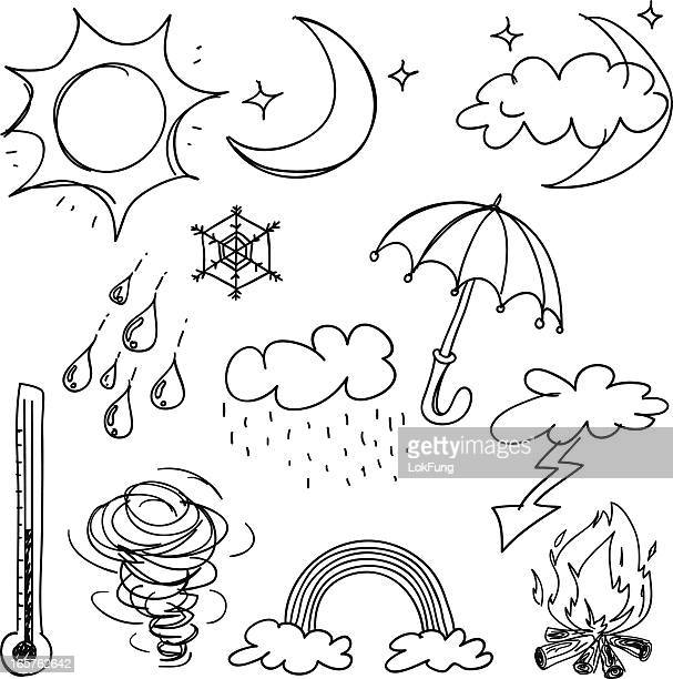 weather icon collection in black and white - weather stock illustrations