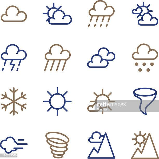 weather icon - line color series - overcast stock illustrations, clip art, cartoons, & icons