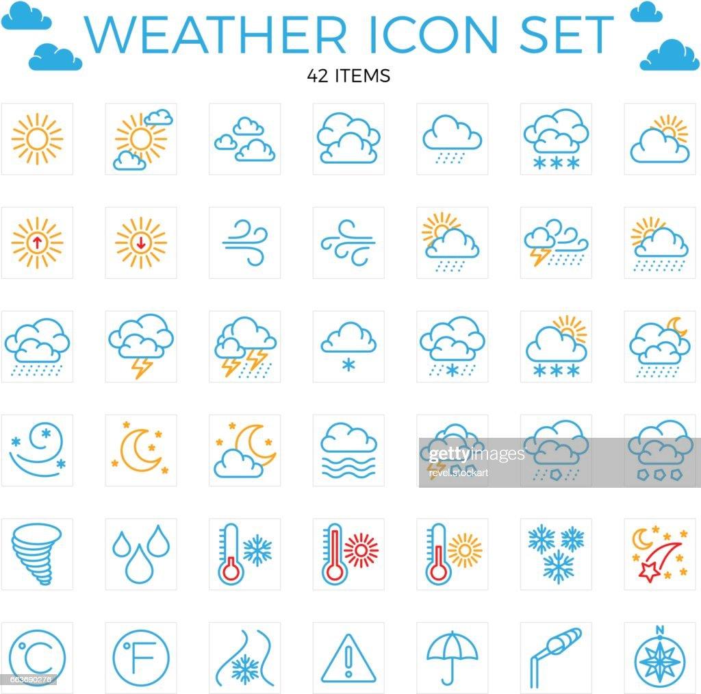Weather icon set. Line icons.42 items. Clouds, sun, rain, umbrella. 64x64 Editable stroke.