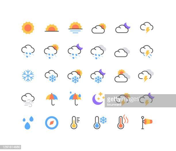 ilustraciones, imágenes clip art, dibujos animados e iconos de stock de conjunto de iconos meteorológicos - tiempo atmosférico