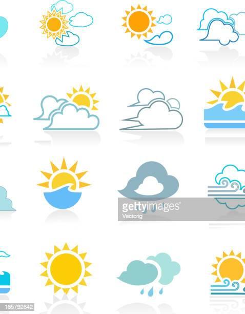 weather icon set - hurricane storm stock illustrations, clip art, cartoons, & icons