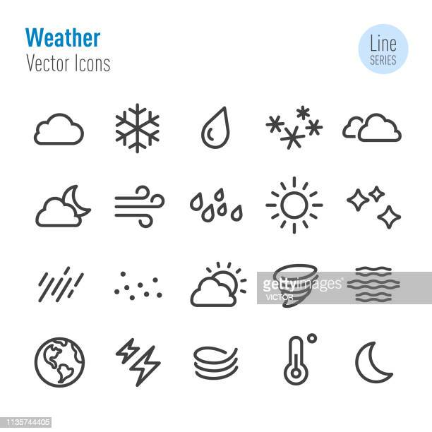 weather icon - vector line series - cold temperature stock illustrations