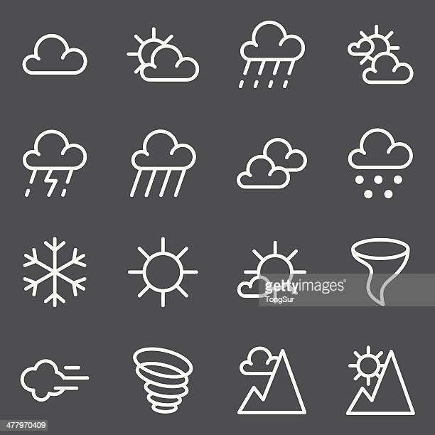 weather icon - white series - overcast stock illustrations, clip art, cartoons, & icons