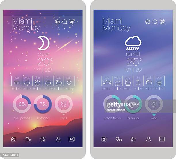 Weather icons and UI design on smartphone