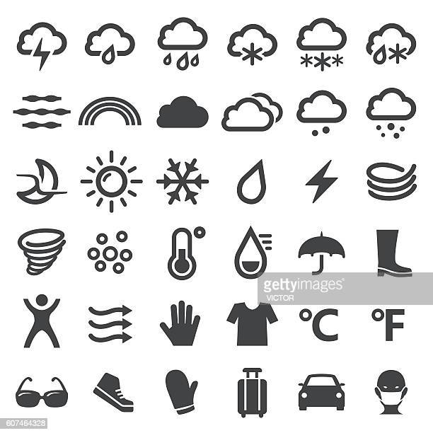 weather icons - big series - blizzard stock illustrations