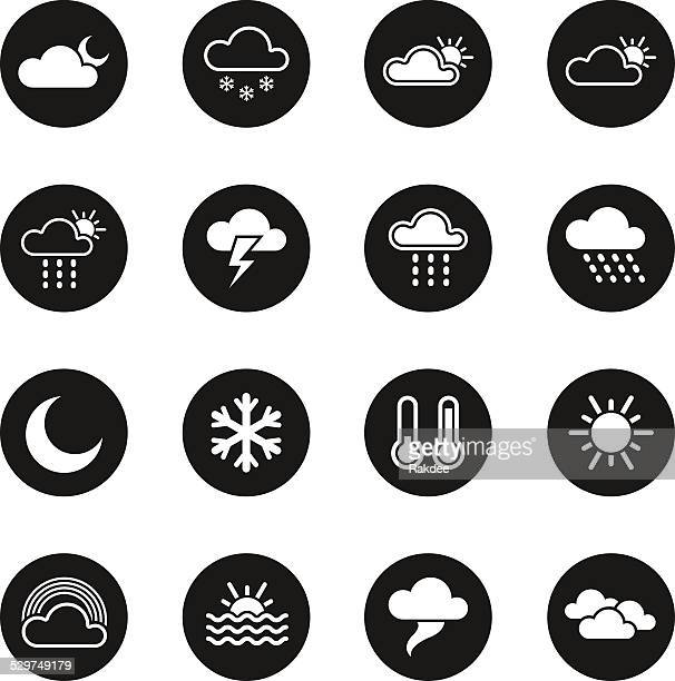 weather icons - black circle series - overcast stock illustrations, clip art, cartoons, & icons