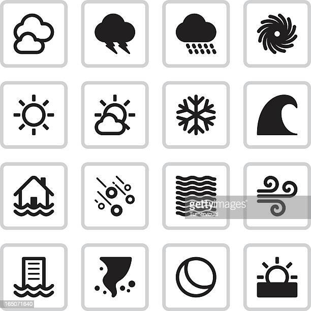weather icons | black - tide stock illustrations, clip art, cartoons, & icons