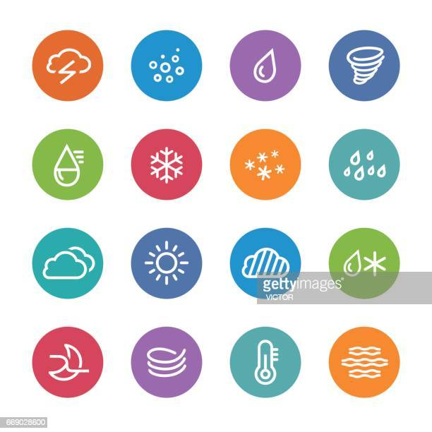 weather icons - circle line series - sleet stock illustrations, clip art, cartoons, & icons