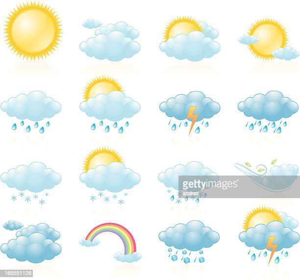 weather icons, day forecast - overcast stock illustrations, clip art, cartoons, & icons