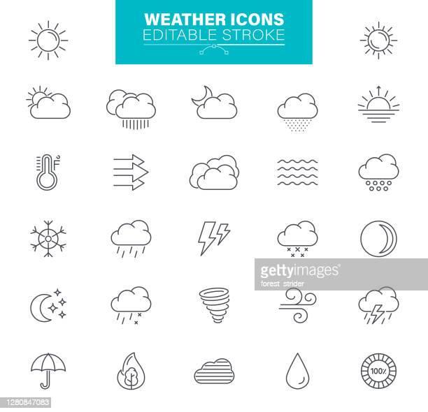 wetter-symbole editierbaren strich. sonne, regen, gewitter, wind, schneewolke, illustrationen - sonnenlicht stock-grafiken, -clipart, -cartoons und -symbole