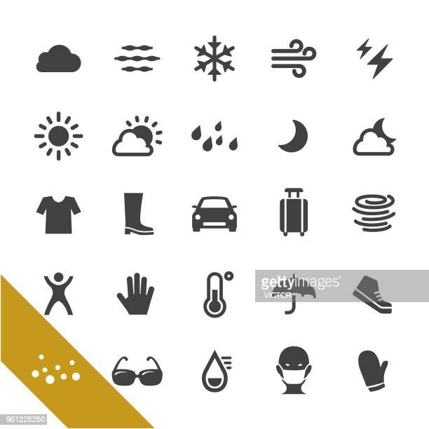 weather icons set - select series - air respirator mask stock illustrations