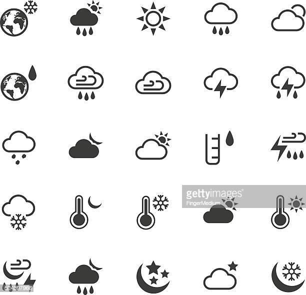weather icons set - fahrenheit stock illustrations