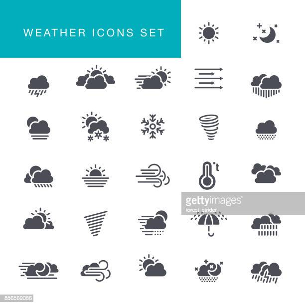 weather icons set - blizzard stock illustrations
