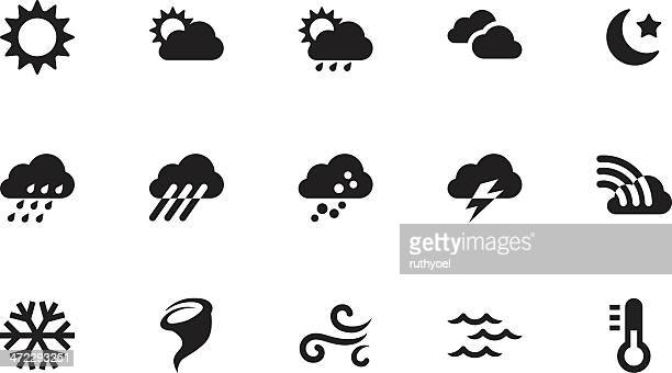 Weather icons . Simple black