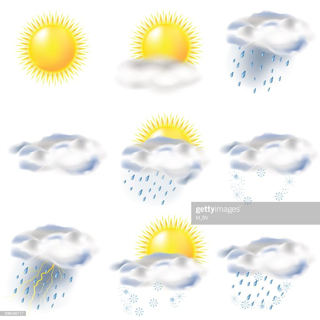 weather icons  sun, rain, snow, storm, clouds