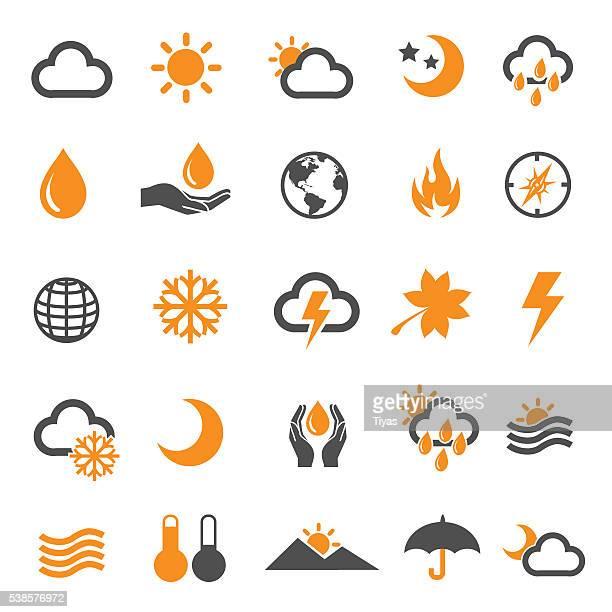 ilustraciones, imágenes clip art, dibujos animados e iconos de stock de iconos weather - pedo