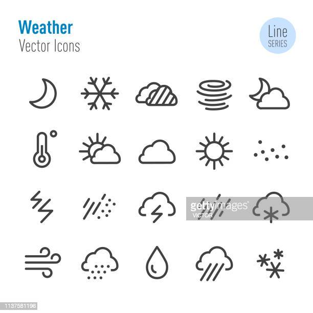 weather icons - vector line series - humidity stock illustrations, clip art, cartoons, & icons