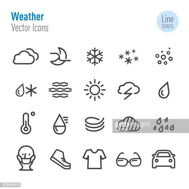 weather icons - vector line series - temperature stock illustrations