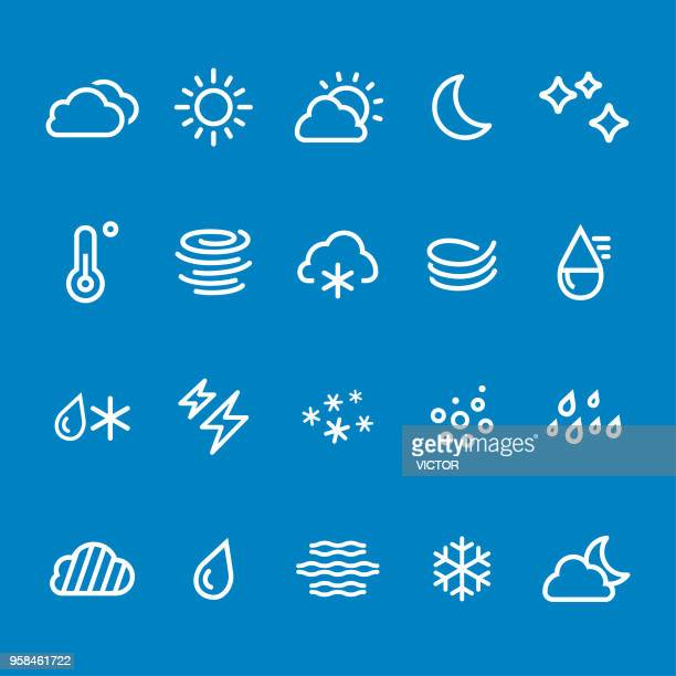 weather icons - vector smart line series - sleet stock illustrations, clip art, cartoons, & icons
