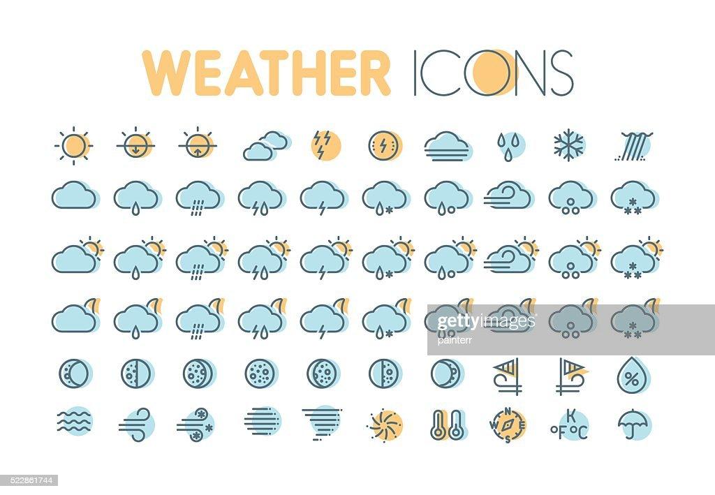 Weather icons. Weather forecast symbols and elements.
