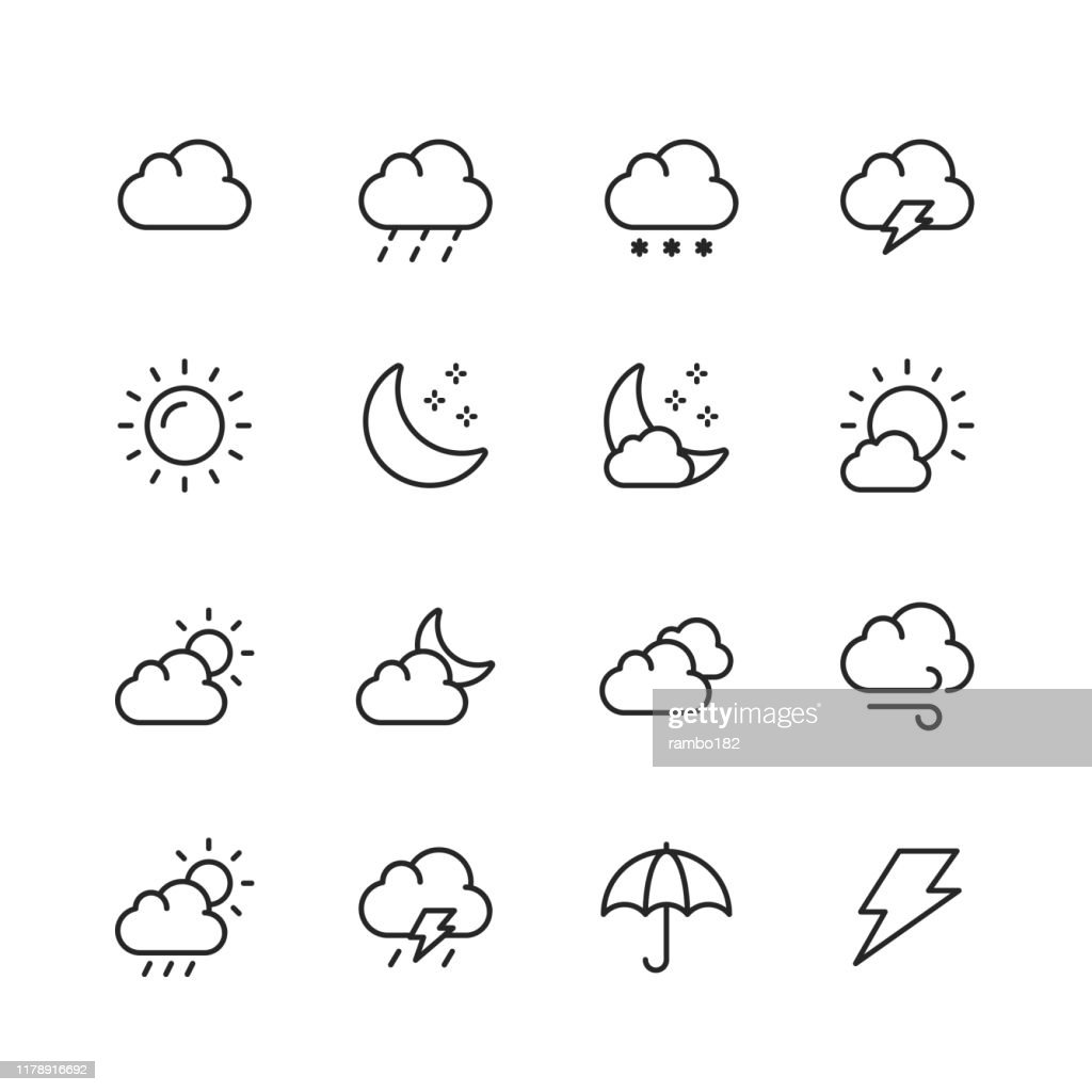 Weather Line Icons. Editable Stroke. Pixel Perfect. For Mobile and Web. Contains such icons as Weather, Sun, Cloud, Rain, Snow, Temperature, Climate, Moon, Wind. : stock illustration