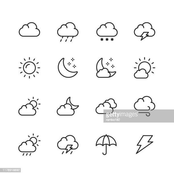 weather line icons. editable stroke. pixel perfect. for mobile and web. contains such icons as weather, sun, cloud, rain, snow, temperature, climate, moon, wind. - weather stock illustrations