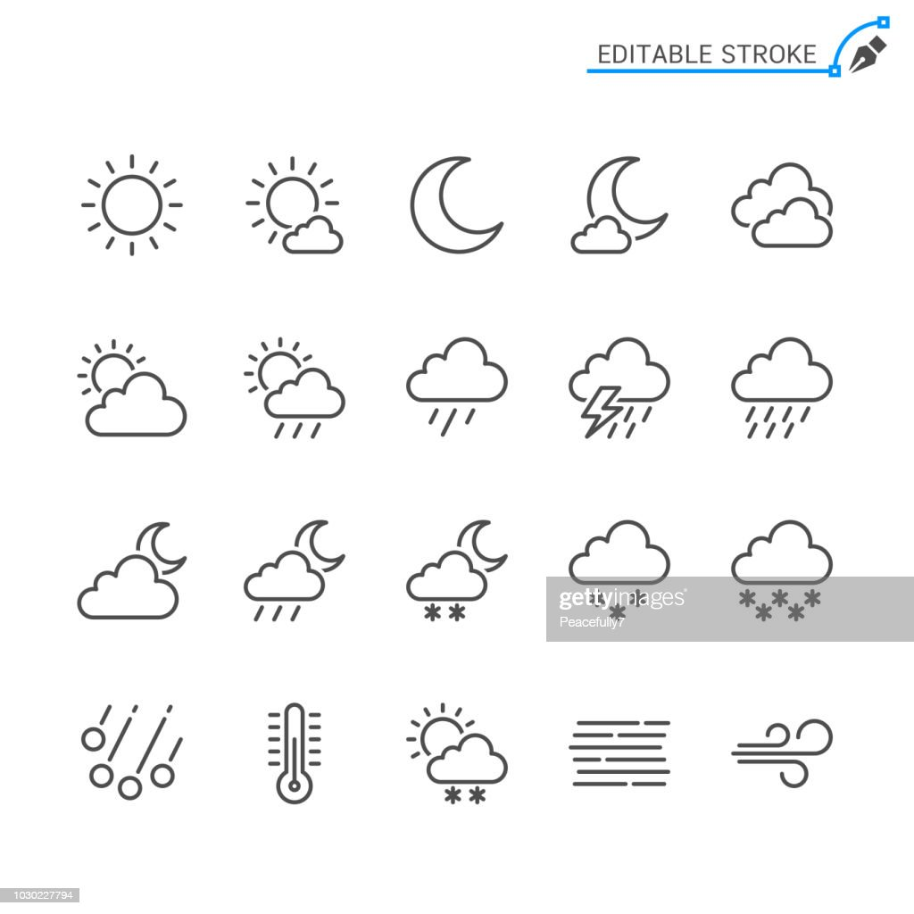 Weather line icons. Editable stroke. Pixel perfect.