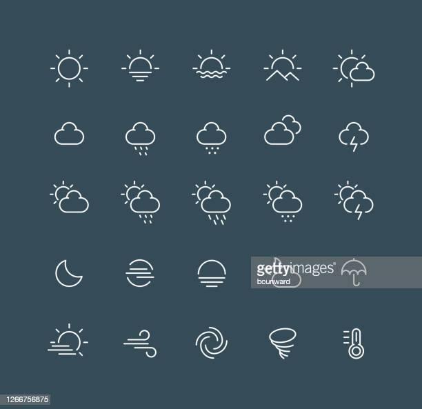 ilustraciones, imágenes clip art, dibujos animados e iconos de stock de iconos de línea meteorológica trazo editable - tiempo atmosférico
