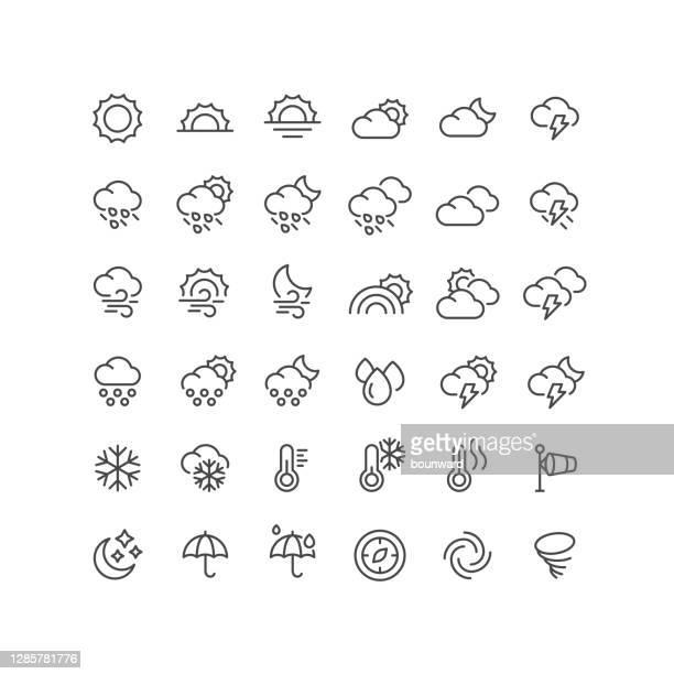 36 wetterlinien-symbole bearbeitbarer strich - regenschirm stock-grafiken, -clipart, -cartoons und -symbole