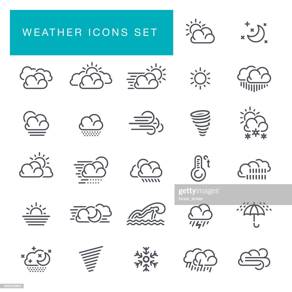 Weather line icons set : stock illustration
