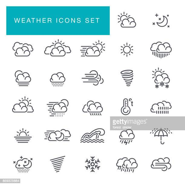 weather line icons set - blizzard stock illustrations
