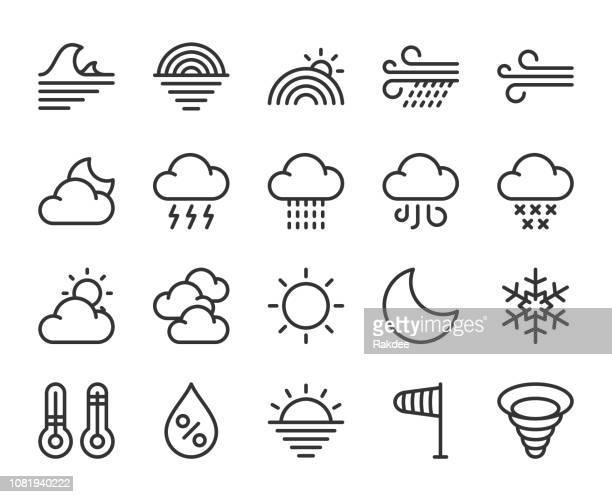 wetter - linie symbole - nass stock-grafiken, -clipart, -cartoons und -symbole