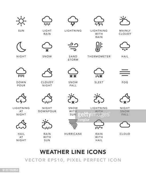 weather line icons - weather stock illustrations
