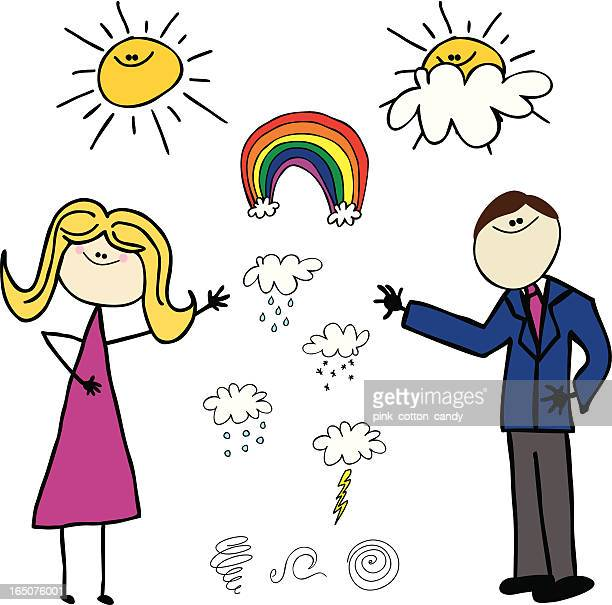 weather man and woman - hailstone stock illustrations, clip art, cartoons, & icons