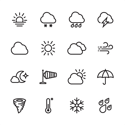 Weather - outline icon set - gettyimageskorea