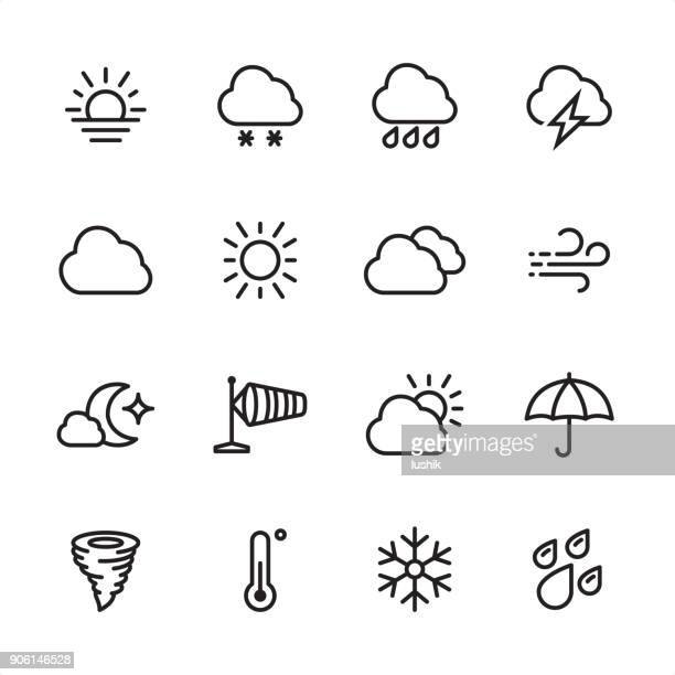 weather - outline icon set - overcast stock illustrations, clip art, cartoons, & icons