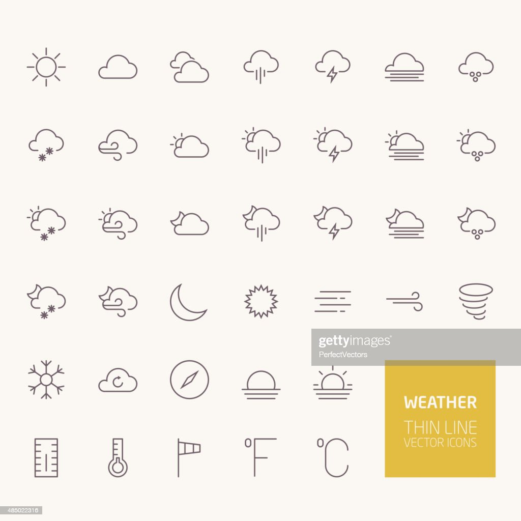 Weather Outline Icons for web and mobile apps