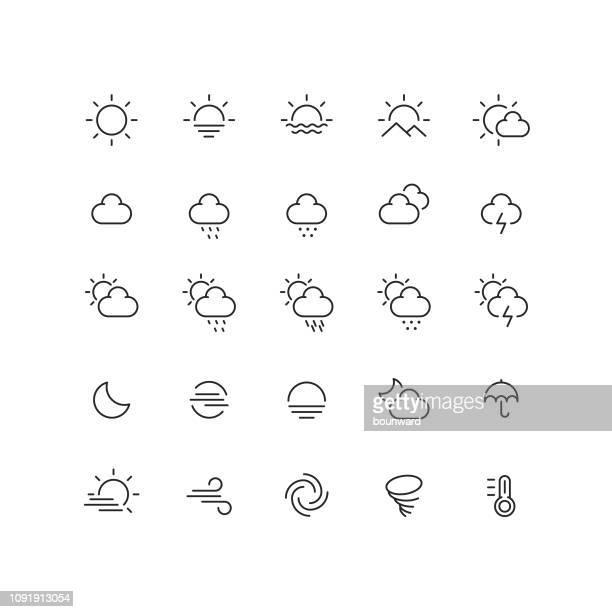 ilustraciones, imágenes clip art, dibujos animados e iconos de stock de el tiempo en los iconos de contorno - puesta de sol