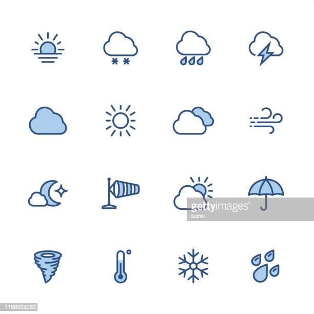 天気 - ピクセルパーフェクトブルーのアウトラインアイコン - 昼間点のイラスト素材/クリップアート素材/マンガ素材/アイコン素材