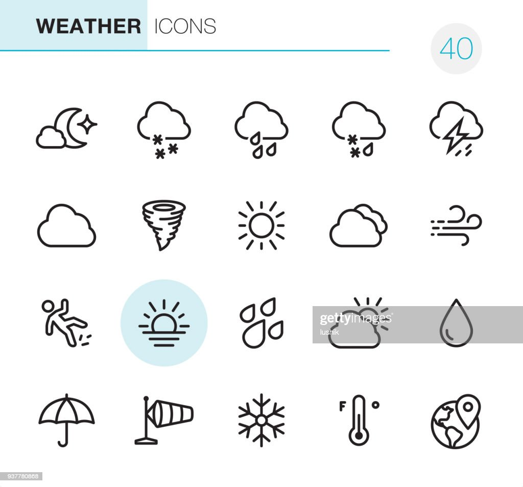 Weather - Pixel Perfect icons : stock illustration