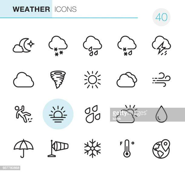 weather - pixel perfect icons - temperature stock illustrations