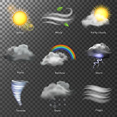 Weather realistic 3d icons vector. set Sun, cloud, rainbow, storm wind