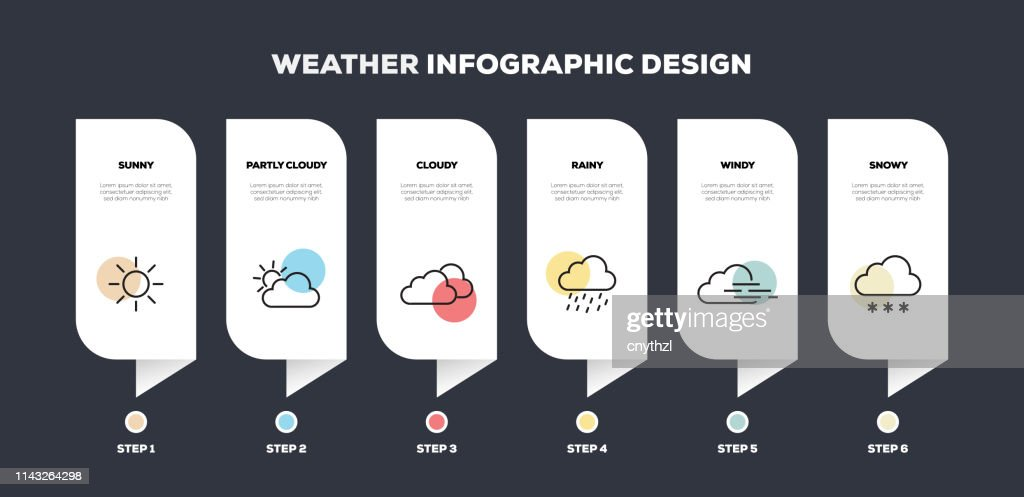 Weather Related Line Infographic Design : Stock Illustration