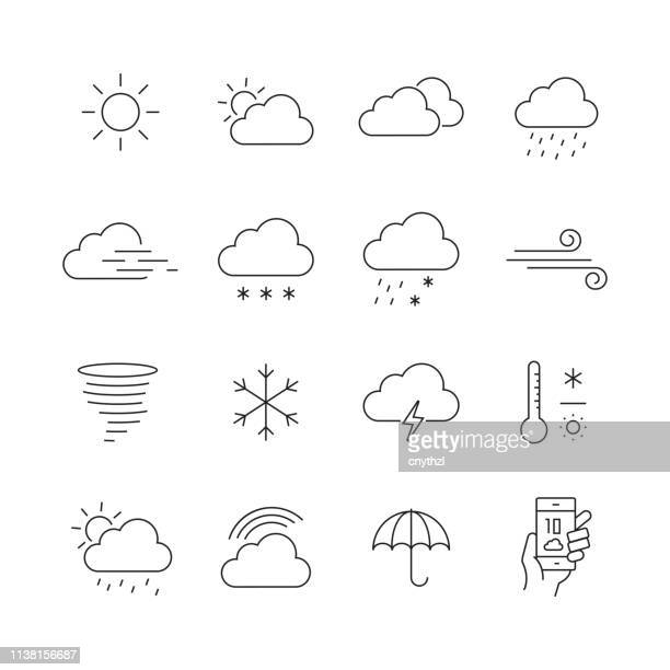 wetter related-set of thin line vector icons - wetter stock-grafiken, -clipart, -cartoons und -symbole